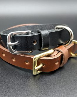 The Dog Classic Collar - Black - Conker - Brass - Stainless Steel