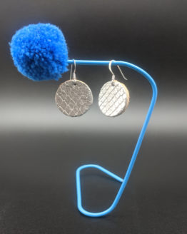Circle Earrings - Silver Snake - Silver - Leather