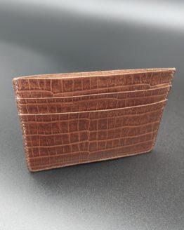 Card Holder - Oak Brown Croc Pint Leather